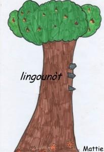 piccole sporgenze in ferro (lingounòt) per arrampicarsi a raccogliere le castagne. Disegno della scuola elementare di Mattie