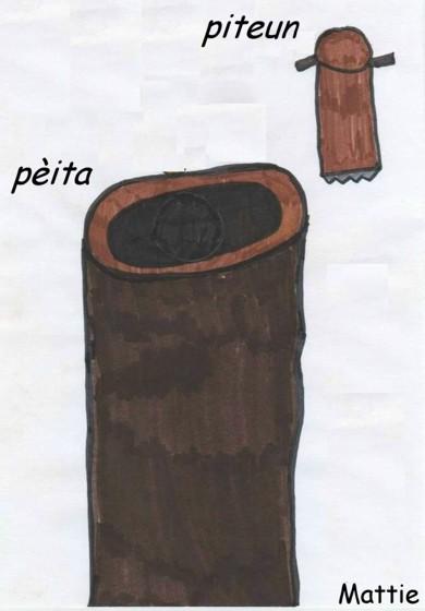 tronco di castagno tagliato e scavato (pèita) in cui si batteva con un particolare bastone anch'esso di legno terminante con dei chiodi (piteun). Disegno della scuola elementare di Mattie