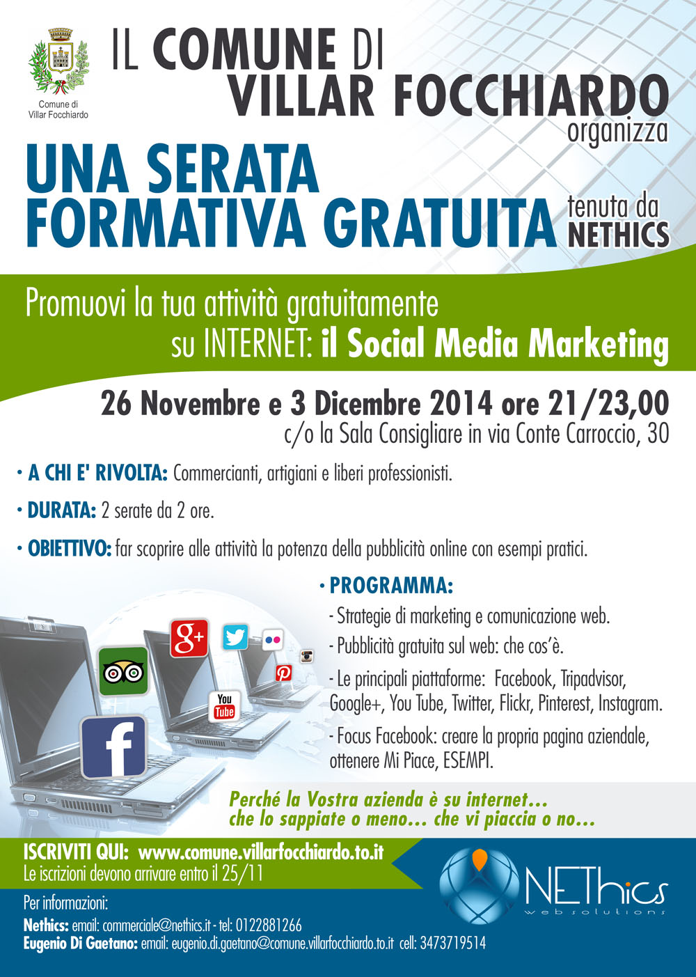 Workshop Social Media Marketing per artigiani e commercianti a Villar Focchiardo
