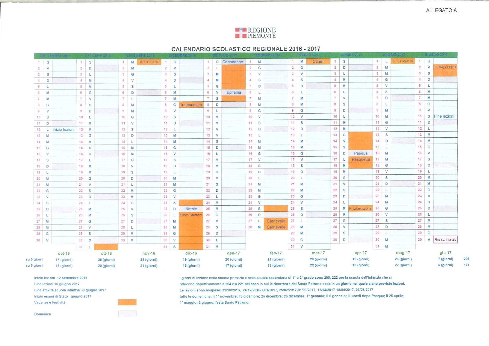 Calendario Scolastico Torino.Calendario Scolastico Regionale Anno Scolastico 2016 2017
