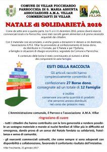 Esiti natale solidarietà 2016 locandina