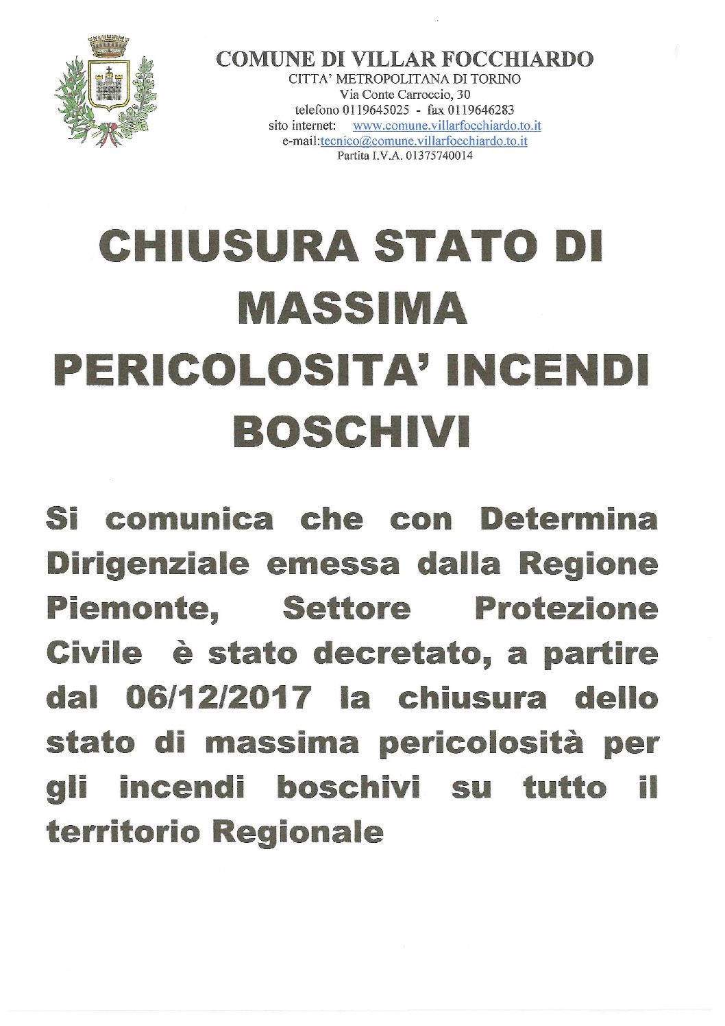 CHIUSURA STATO MASSIMA PERICOLOSITA' INCENDI BOSCHIVI